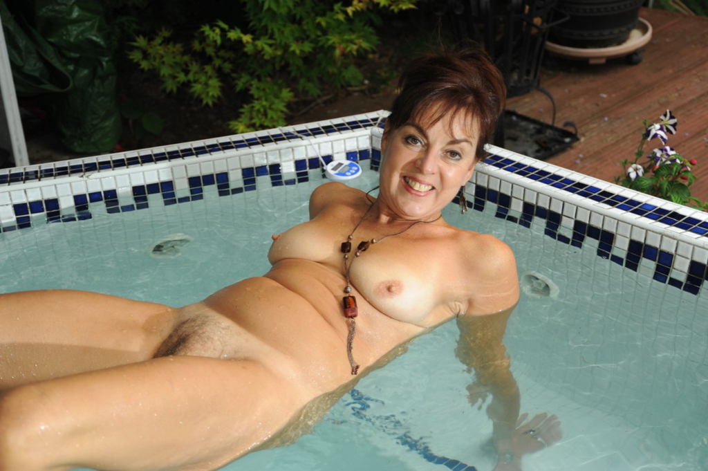 English mature bathes her giant tits amp hairy pussy 6